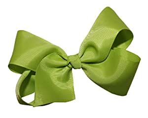 WD2U Girls' Extra Large GrosGrain Knot Hair Bow Alligator Clip Apple Grn 1092A
