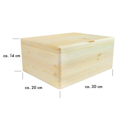 VENKON-Universal-Holzkiste-mit-Deckel-fr-Aufbewahrung-Kiefer-naturbelassen-unbehandelt-ca-30-x-20-x-14-cm