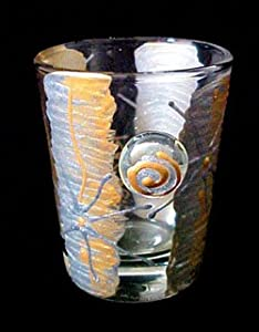 Angel Wings Design - Hand Painted - Collectible Shot Glass - 2 oz.