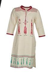 Artisan Women's Cotton Straight Kurta (CZF10041_XL, Off White & Red, XL)