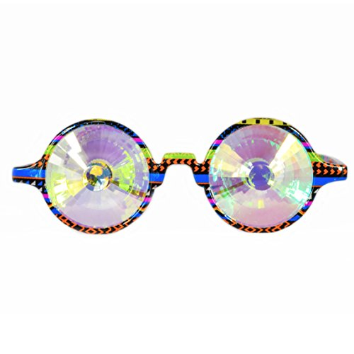 Dem Vibes Festival Kaleidoscope Glasses – Trippy Rave Wormhole (Tribal Rainbow)