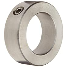 "Climax Metal CRC-018-S Shaft Collar, One Piece, Set Screw Style, 316 Stainless Steel, 3/16"" Bore, 7/16"" OD, 1/4"" Width, With 8-32 x 1/8 Set Screw"