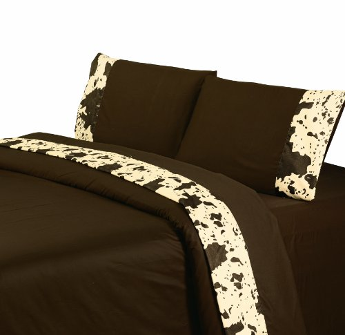 HiEnd Accents Printed Cowhide Sheet Set, Queen, Chocolate
