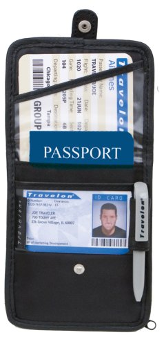 Travelon ID and Boarding Pass Holder with Snap, Black, One Size