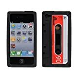 BLACK CASSETTE TAPE SILICONE CASE COVER FOR IPHONE 4 gadgets