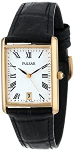 Pulsar Men's PXDA82 Gold-Tone Stainless Steel Black Leather Strap Watch