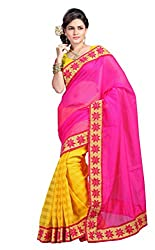 Fabviva Women's Cotton Saree with blouse(Vncotton_Pink)