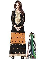 Exotic India Black And Mustard Designer Long Choodidaar Kameez Suit With - Black