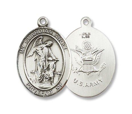Guardian Angel Sterling Silver Medal with 18