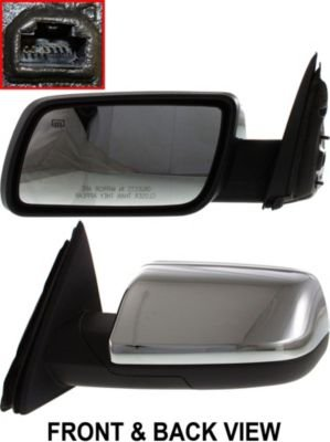 Kool Vue FD198EL Mirror Corner mount Type Driver Side LH Plastic Chrome Power With cap(s) Manual folding Heated memory feature (Driver Side Mirror Cap compare prices)