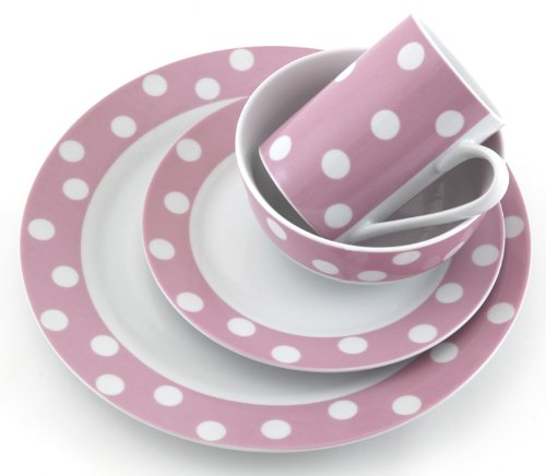 Details for 16 Piece Pink Polka Dot Porcelain Dinner Set from Creative Tops