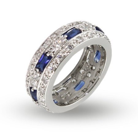 Sterling Silver CZ Anniversary Band with Baguette Sapphire CZs Size 7 (Sizes 6 7 8 9 Available)