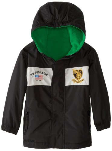 U.S. Polo Association Little Boys' Reversible Mid Weight Jacket With Attached Hood, Black, 2T