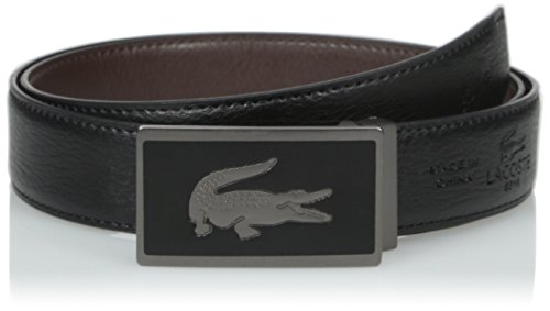 Lacoste Men's Premium Pebbled Leather Belt with Interchangeable Buckles Set, Black/Brown, 43 (Lacoste Belts compare prices)
