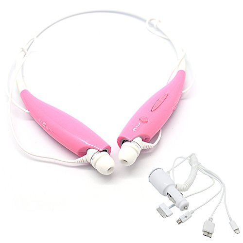 Pink Oem Lg Tone+ Hbs-730 Universal Wireless Stereo Bluetooth Headset With 4 In 1 Car Charger