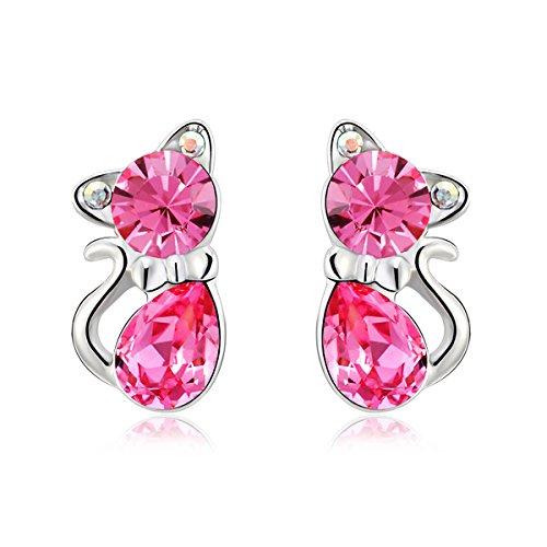 Yparah-Orecchini a forma di gatto, colore: rosa, con cristalli di Swarovski, da donna