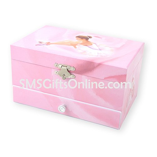 Pink Rose with Ballerina and Ballet Slippers Pink Children Musical Jewellery Box with One Drawer