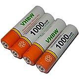 vhbw 4 x AAA, Micro, R3, HR03 Akku 1000mAh für Siemens Gigaset S810, S810A, S810H, S820, S820A, S820H, SX810 ISDN, SX810ISDN, A400a Duo
