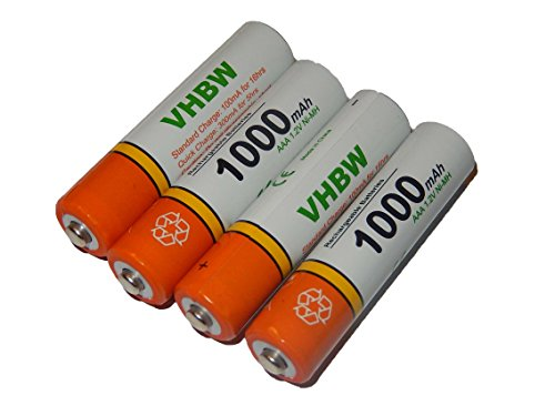 Lot de 4 piles rechargeables vhbw AAA, Micro, R3, HR03 1000mAh pour Siemens Gigaset AS285, C300, C590, C595, C610, C610A, C610H, C610 IP, CX610 ISDN