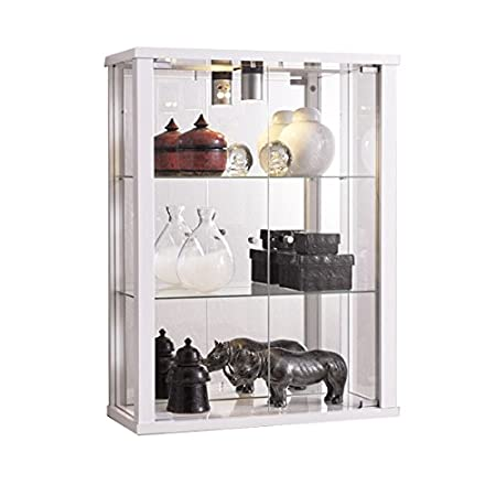White Wall Mounted Lockable Glass Display Cabinet with Lighting