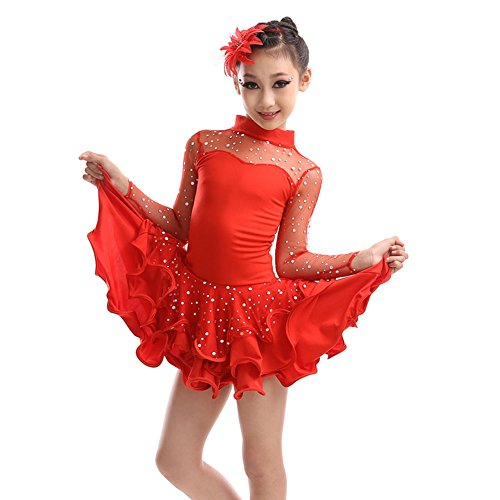 Little Girls' Tutu Dress Latin Dress Party Dresses Long Sleeve 110cm Red