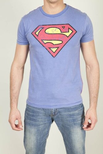 Men's Superman Logo Marble Washed T-Shirt Small