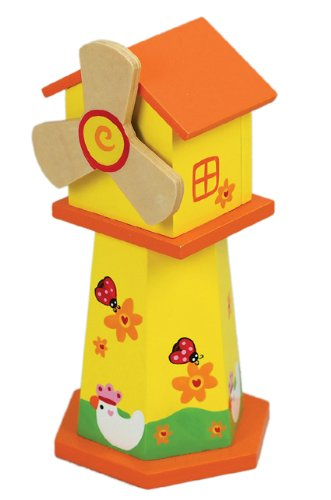 MusicBox Kingdom 43828 Yellow Piggy Bank in Shape of a Windmill Music Box, Plays The Melody