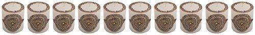 "Craftandcreations Set Of 10 Wax Henna Art Work Candles (3""x3"", White)"