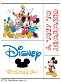 Disney / All Night Media 4 Piece Mounted Stamp Set DISNEY VACATION