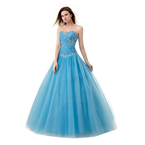 Engerla Women's Sweetheart Beading Bodice A-line Sweep Train Quinceanera Dress (Blue Quinceanera Dresses compare prices)