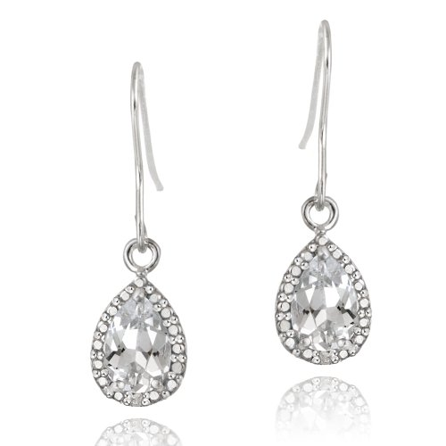 Sterling Silver 3ct White Topaz & Diamond Accent Teardrop Dangle Earrings
