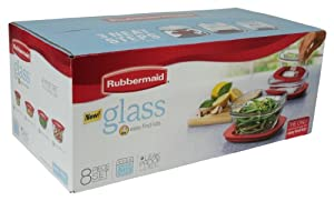 Rubbermaid Easy Find Lid Food Storage Container, Glass, 8-piece Set (2856008)