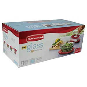 Rubbermaid Glass containers with easy find lids