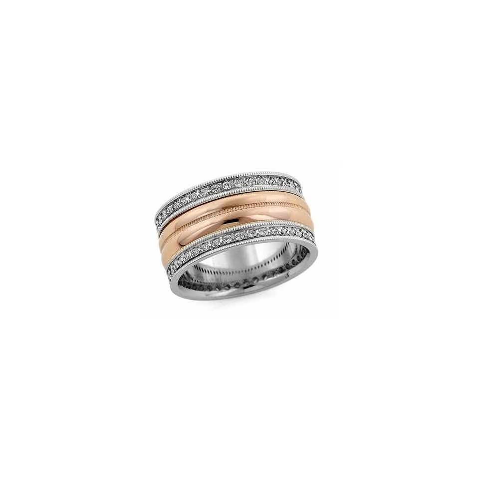 10.00 Millimeters White and Rose Gold Diamond Wedding Band Ring 14Kt Gold, Comfort Fit Style LV1489 50TT10 by Wedding Rings by Oromi Finger Size 11.75