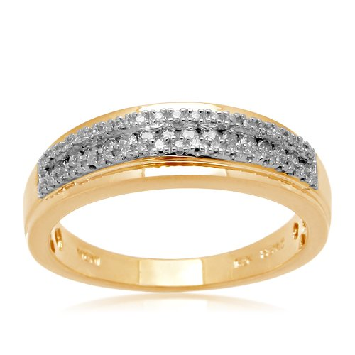Men's Gold Plated Sterling Silver Wedding Diamond Ring (1/3 cttw, I-J Color, I2-I3 Clarity), Size 11