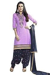 Yeki Kessi Purple & Navy Blue Cotton Patiala Dress Material
