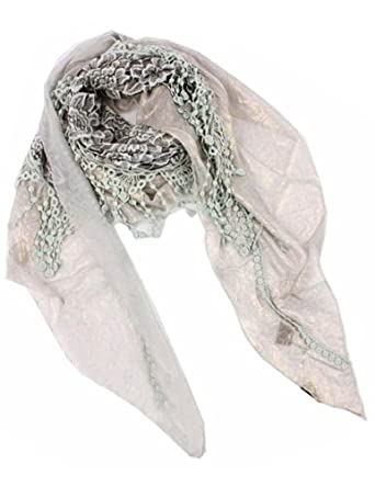 Embroidered Rose Sheer Metallic Fancy Asymmetric Triangle Scarf - Gray