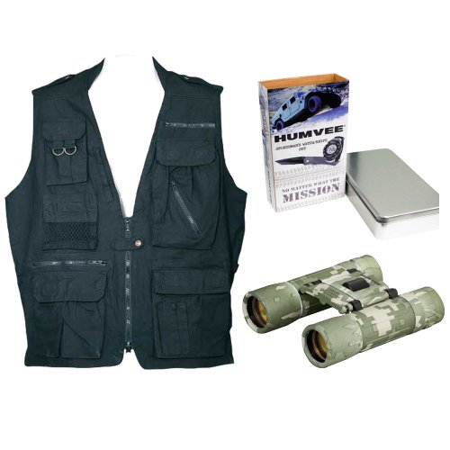 Humvee Safari Vest + Binocular + Sportsmans Watch & Knife Combo