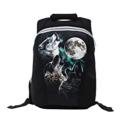 Yipinu Neoprene Laptop Backpack Notebook Bags Three Wolf and Moon