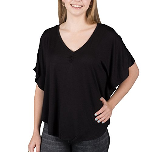 [1205-BLK-XL] V-Neck Lace Back Poncho (That 70s Show Outfits)