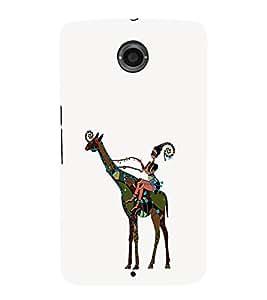 EPICCASE girl riding giraffe Mobile Back Case Cover For LG Nexus 6 (Designer Case)