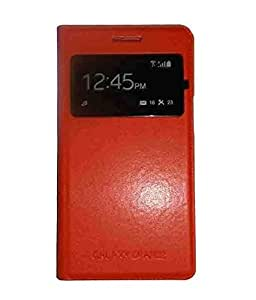 JMA Leather Call View Flip Cover Case For Samsung Galaxy Grand 2 G7106 - Orange