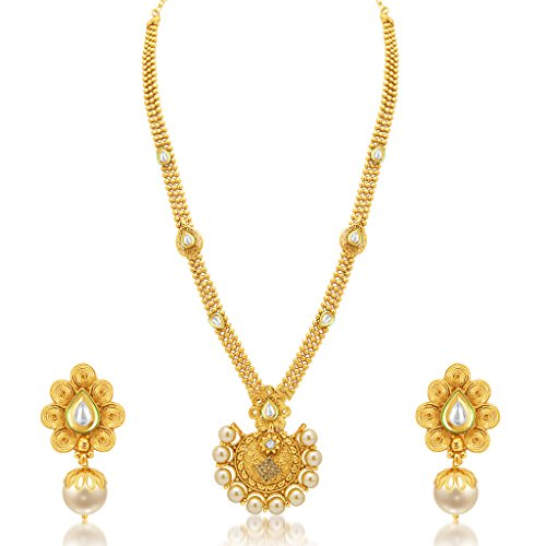 Sukkhi Blossomy Jalebi Gold Plated Kundan Necklace Set For Women