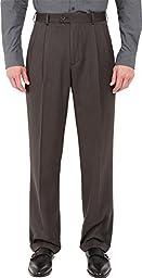 Perry Ellis Men\'s Double Pleated Classic Fit Micro Melange Pant, Castlerock, 36x29