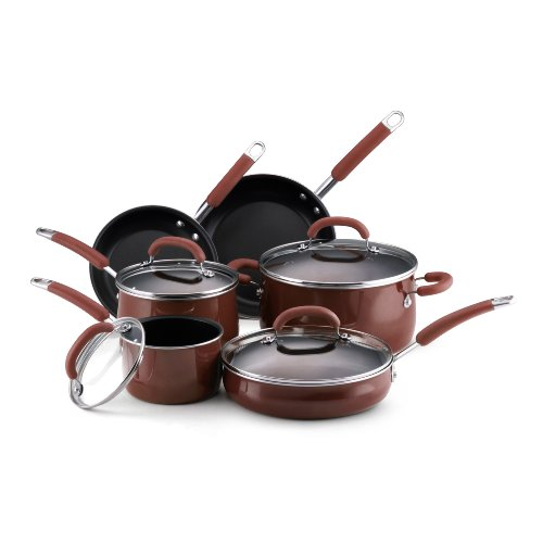Rachael Ray Porcelain Enamel Nonstick 10-Piece Cookware Set Chocolate Discount