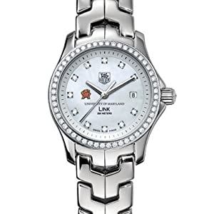 University of Maryland Women's TAG Heuer Link Watch with Mother of Pearl Diamond Dial and Diamond Bezel
