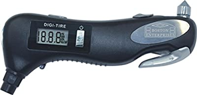 Tire Pressure Digital Gauge, LED Flashlight, Car Rescue Tool, Seat Belt Cutter, Life Hammer Glass Punch breaks Window in Emergency, Keep This Premium Tool in All Vehicles, Keep your Loved Ones Safe by Boston Enterprises