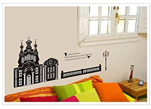 OneHouse Ideal is the Beacon Quote Black Castle Building Birds Wall Decal Room Decal Sticker by OneHouse