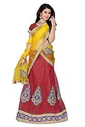 Dhanlaxmi International Red Color Semi Stitched Lehenga Choli.