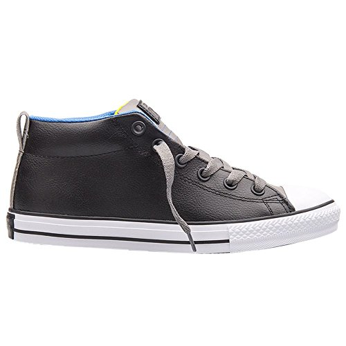 Converse Youths Chuck Taylor Street Mid Slip On Black Leather Trainers 37.5 EU